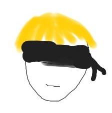 Kopf, blonde Haare, schwarze Augenbinde